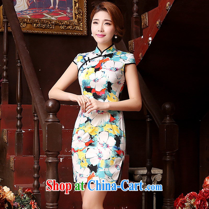 Mrs Alexa Lam unpunished short dresses new 2015 summer retro short-sleeved improved cheongsam dress beauty floral lady stylish dresses 05,451 green L