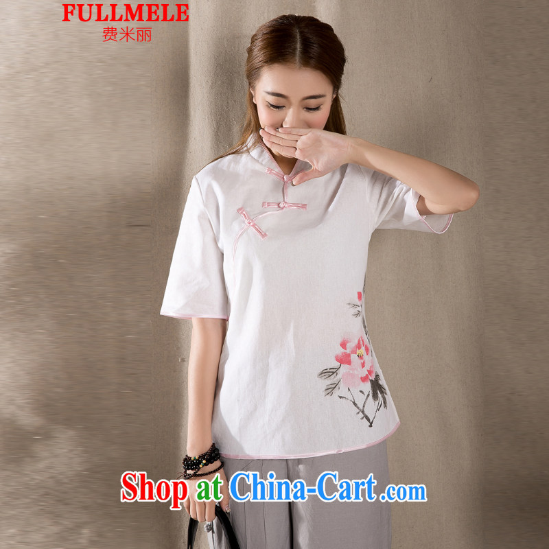 Fees M Lai 2015 cotton Ma hand-painted antique art Chinese Chinese T-shirt woman white XXL