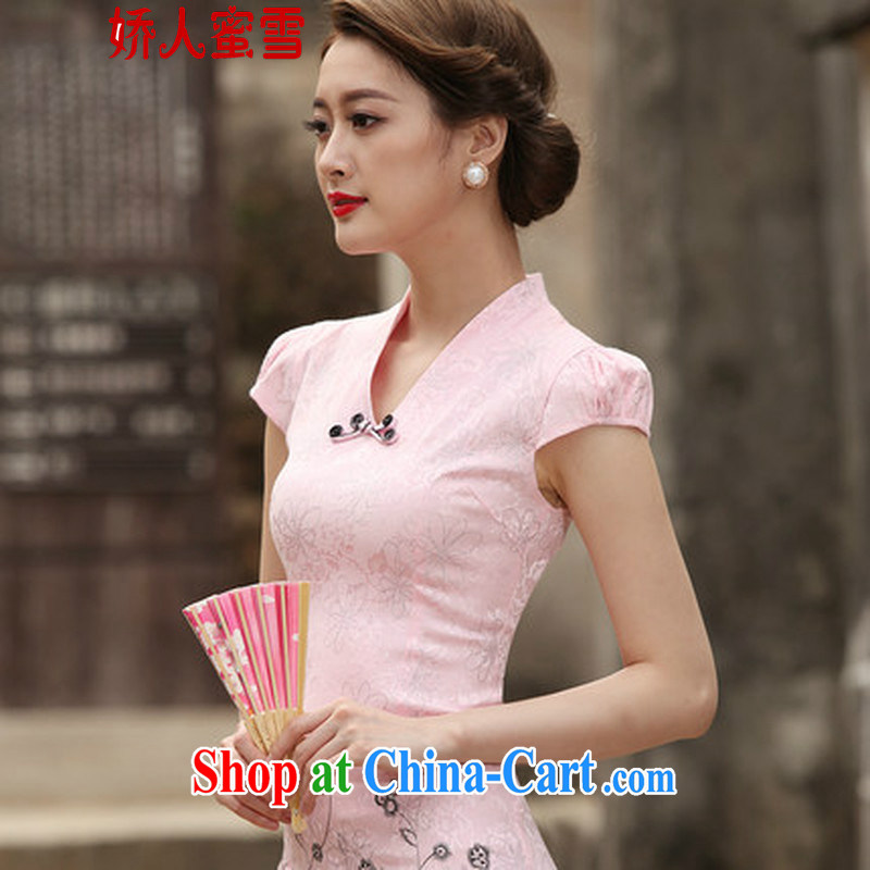 Aviation, honey snow 2015 new stylish retro short dresses summer improved cheongsam dress, daily outfit skirt pink XL