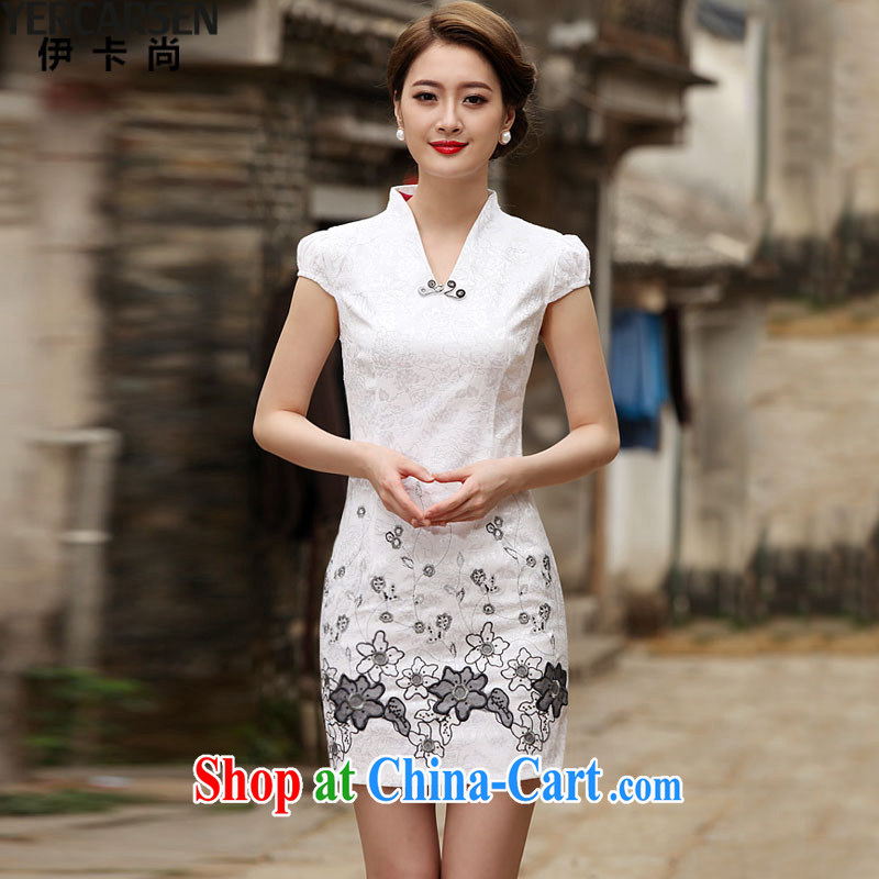 The card is still _YERCARSEN_ 2015 new Stylish retro improved cheongsam dress white S
