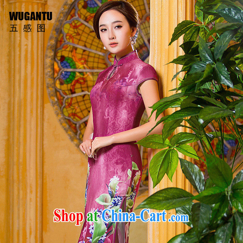 5 the sense of beauty of Korea sense long cheongsam dress 2015 summer new women China wind the flag wind dress WGT 001 photo color XXL