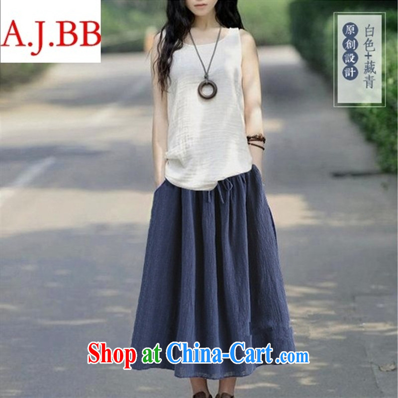 Orange Ngai advisory committee * 2015 summer new cotton vest the commission long skirt Kit ethnic wind loose the code arts T-shirt white vest L
