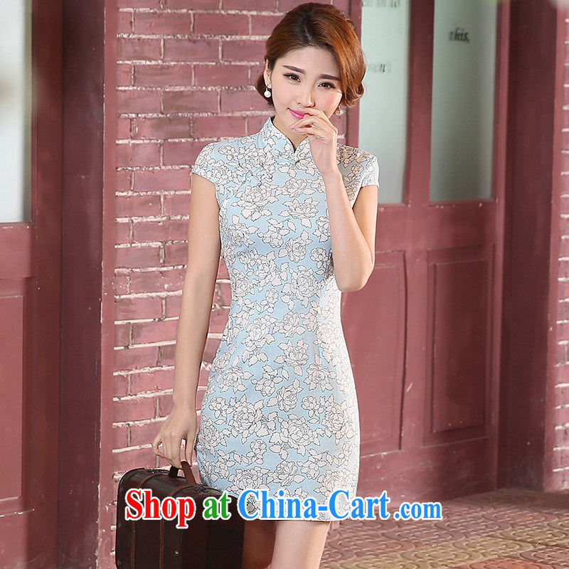 Mrs Alexa Lam go scot 2015 new summer fresh cotton the retro short daily dresses dresses 08,751 light blue L