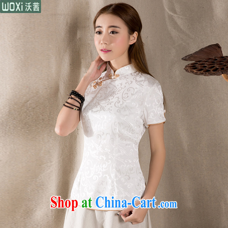 Mrs Rosanna Ure Kosovo (Woxi) 2015 summer New-snap embroidery female T-shirt China wind female antique Chinese Z 1213 white XXXL