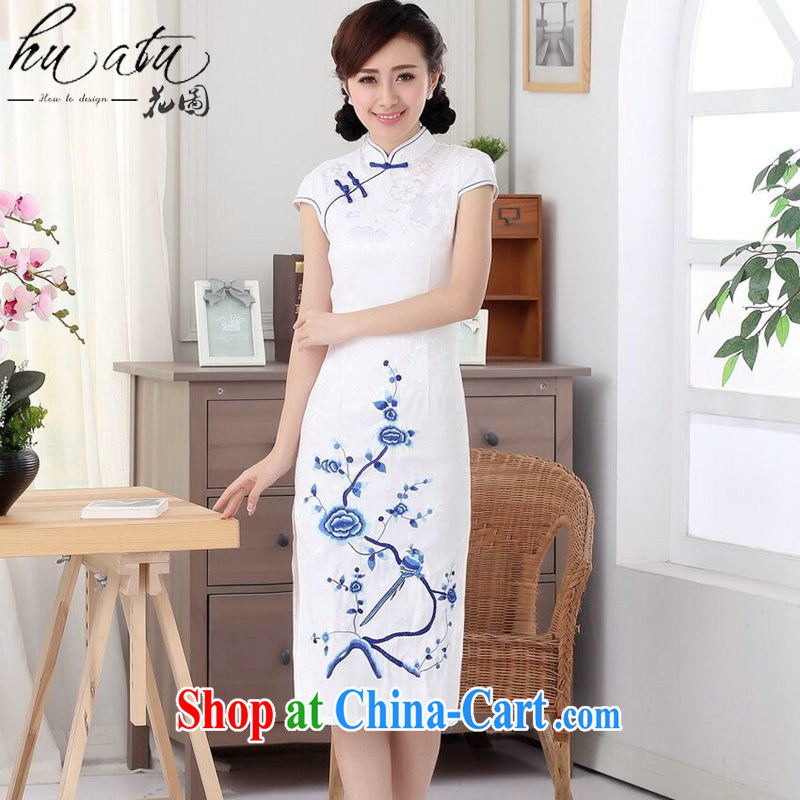 spend the summer, new outfit, Ms. cotton embroidered improved Chinese, short-sleeved in cultivating long-day outfit such as the color 2 XL