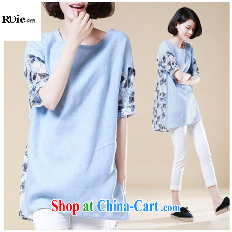 2015 new summer Korean version of the greater code female stitching loose linen shirt female Ginkgo stamp short sleeve lace shirt picture color XXL