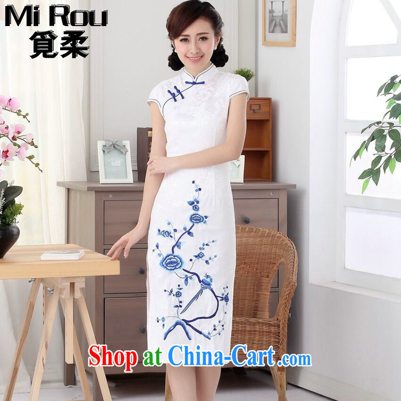 Find Sophie summer, new outfit, Ms. cotton embroidered improved Chinese, short-sleeved in cultivating long-day outfit such as the color 2 XL
