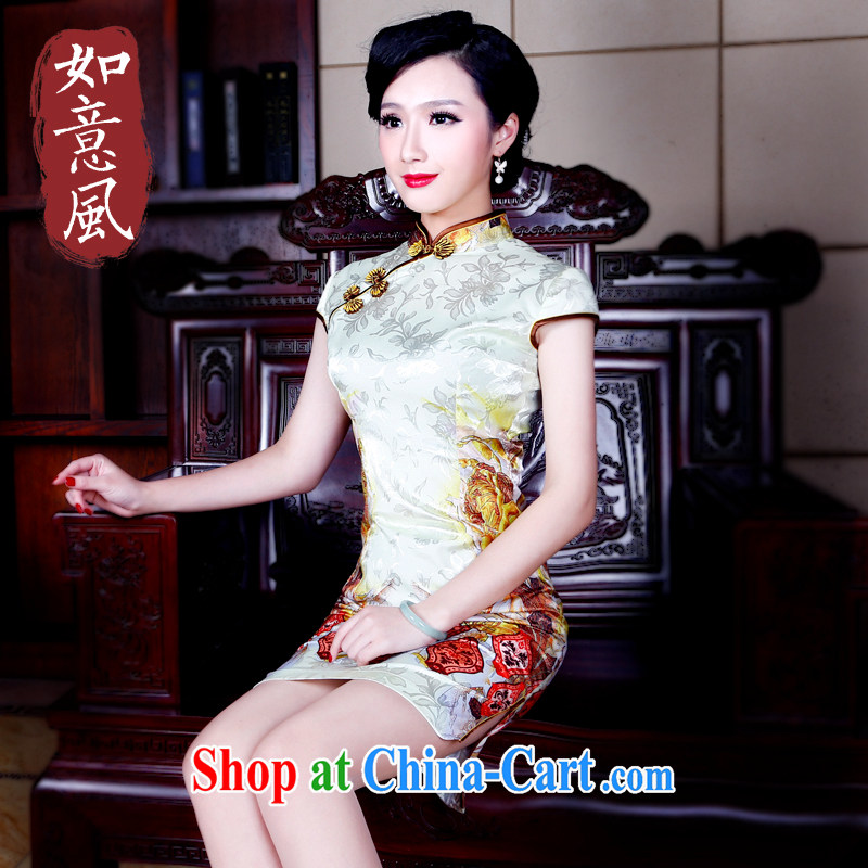 Unwind after the 2015 Spring Summer dresses the forklift truck style improved cultivation style cheongsam dress 5201 new 5201 yellow XXL