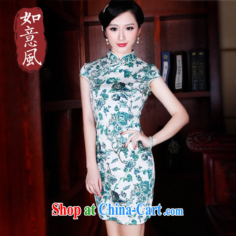 Unwind after the 2015 summer new cheongsam dress stylish improved retro style beauty dresses 5204 new 5204 green XXL