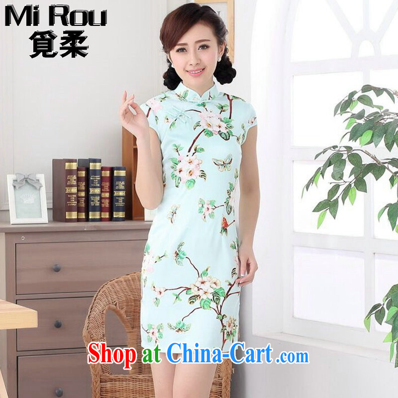 Find Flexible outfit, Ms. summer new Chinese Chinese improved, for a tight silk retro elegant short cheongsam dress such as the color 2 XL