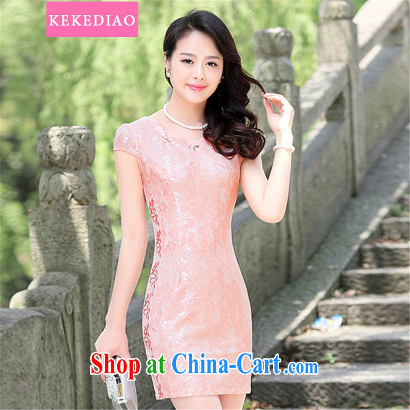 KEKEDIAO summer 2015 New-waist graphics thin cheongsam dress package and stylish stamp improved daily dress pink 3 XL