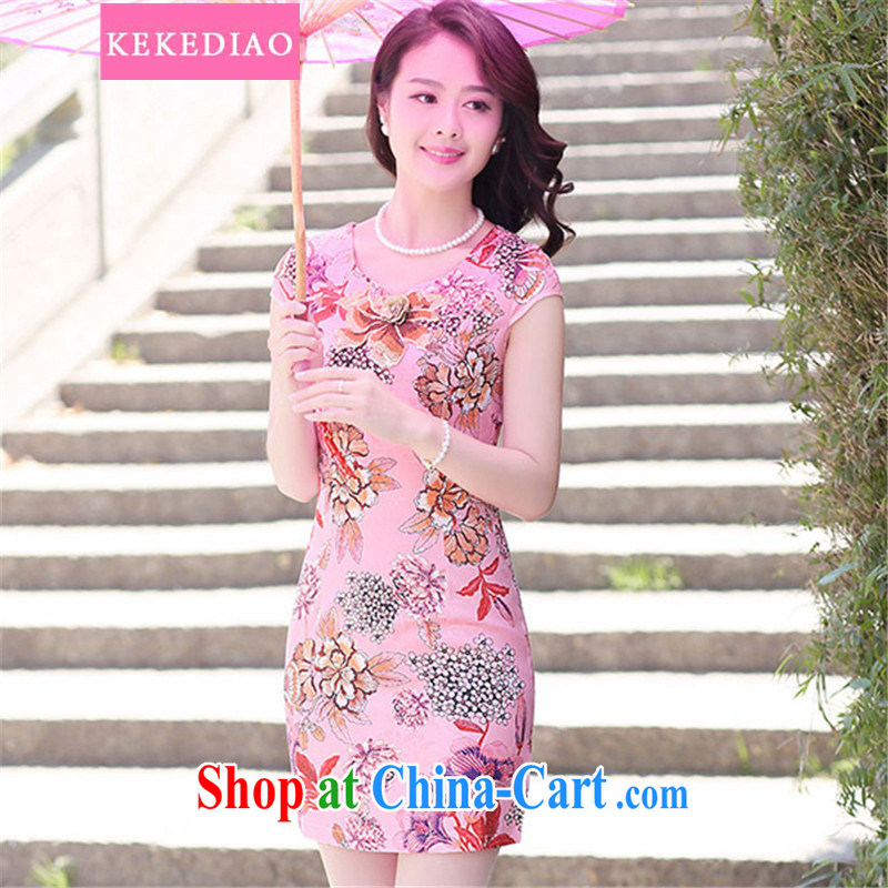 KEKEDIAO summer 2015 new waves for stamp duty short cheongsam dress stylish beauty daily video thin dresses of red bottom take L