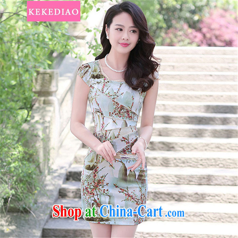 2015 KEKEDIAO new summer beauty routine short cheongsam dress stamp duty landscape retro dress fashion dresses landscape XL