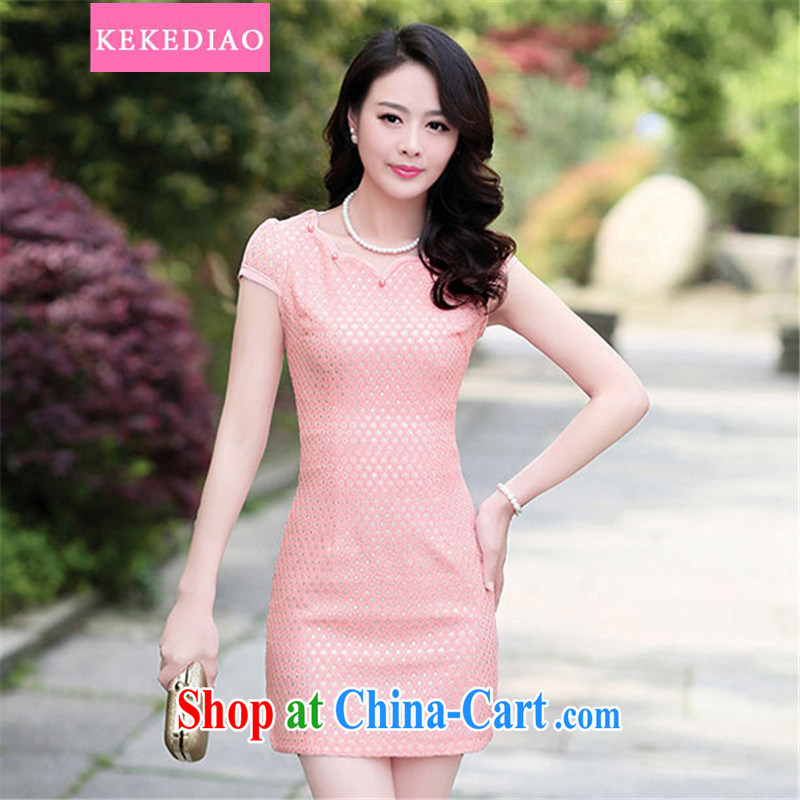 KEKEDIAO 2015 summer new short improved cheongsam dress retro style packages and elegant graphics thin beauty fashion dresses peach M