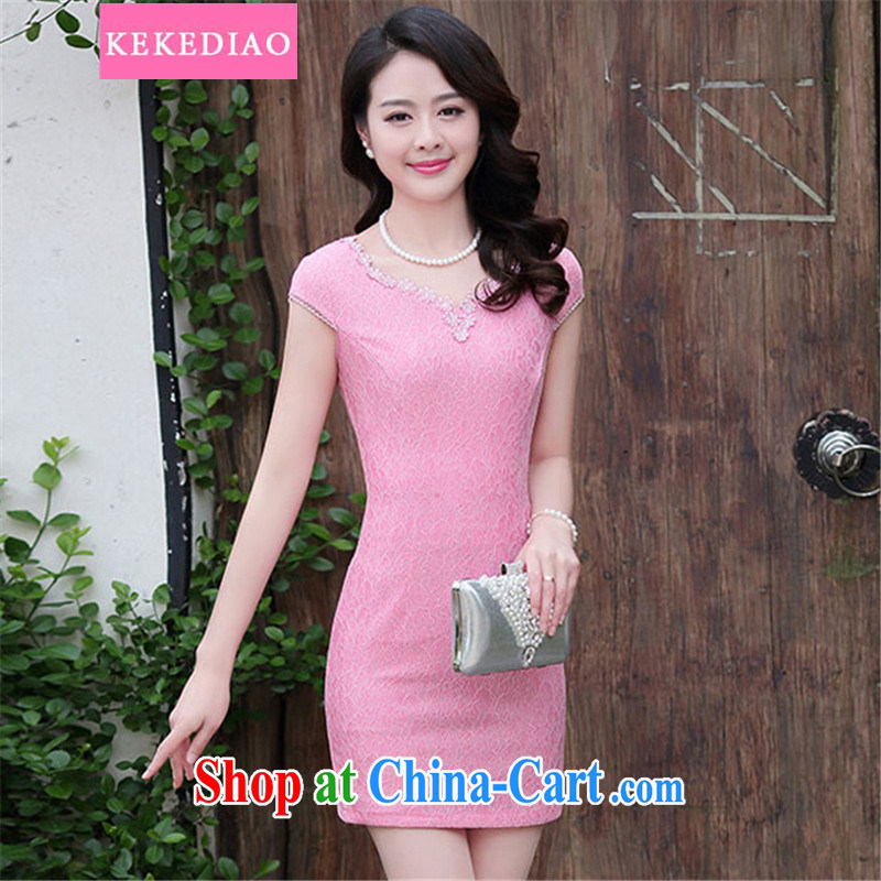 KEKEDIAO 2015 summer NEW GRAPHICS thin beauty retro improved short cheongsam dress package and dresses female peach L