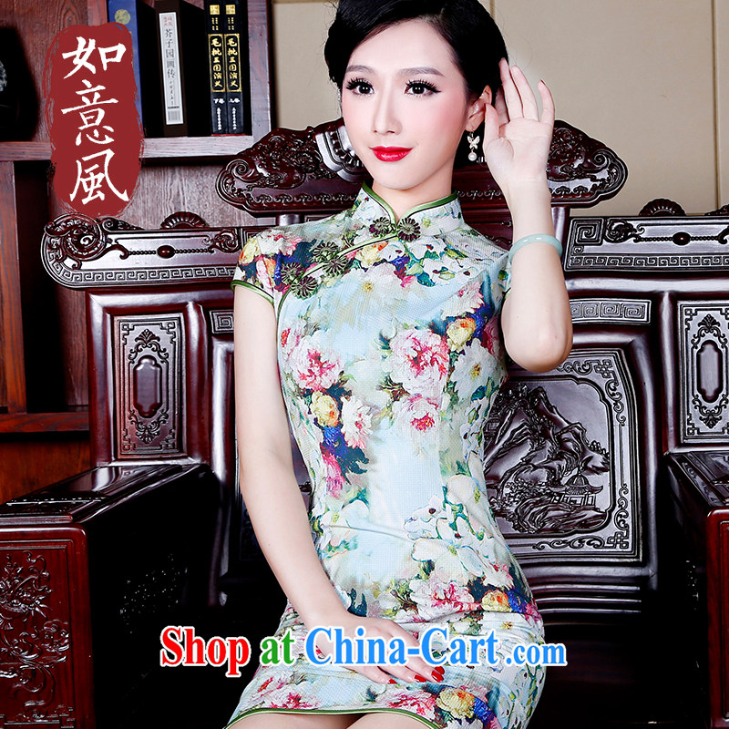 Ruyi wind improved cheongsam summer fashion dresses 2015 retro ethnic wind women dresses 5230 new 5230 fancy XXL