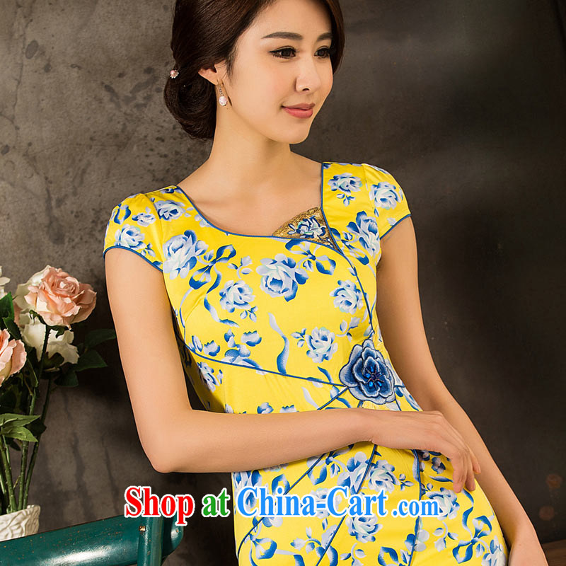 Sir David WILSON, cheongsam dress spring 2015 new summer fashion improved temperament beauty graphics thin short retro everyday dress yellow XXXL