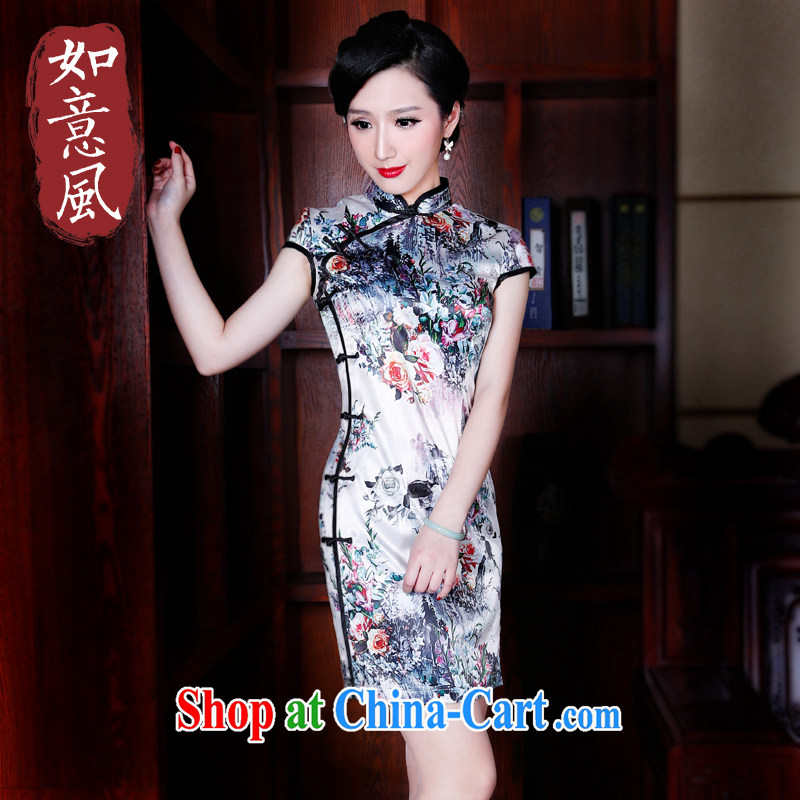 Unwind after the 2015 New Products summer decoration, short-sleeved dresses elegant antique cheongsam dress 5231 new 5231 fancy XXL