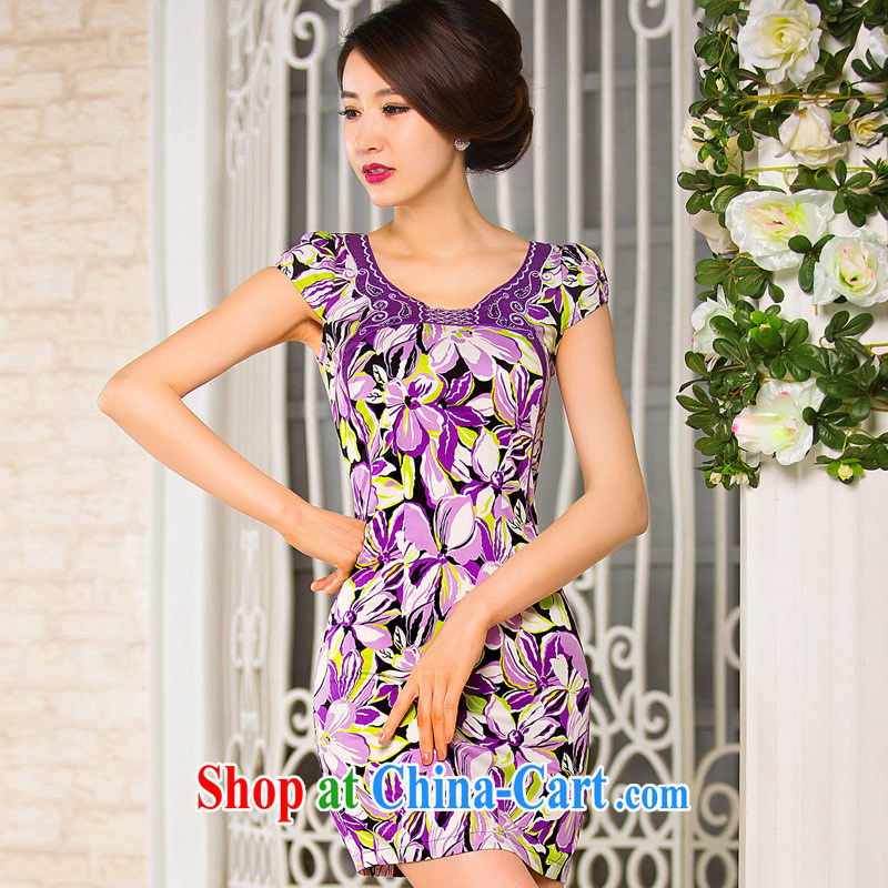 Sir David WILSON, cheongsam dress summer 2015 new stylish improved the round-collar larger stretch mother with regards robe purple XXXL