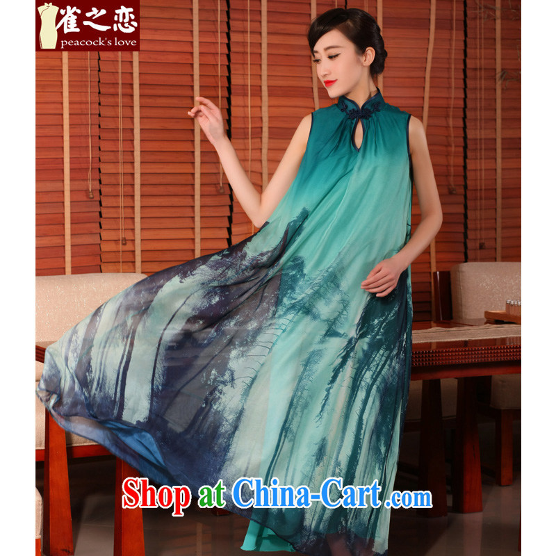 Birds love dresses 2015 new summer wear loose long dresses stylish women improved cheongsam-style dresses QD 754 blue yarn XXL