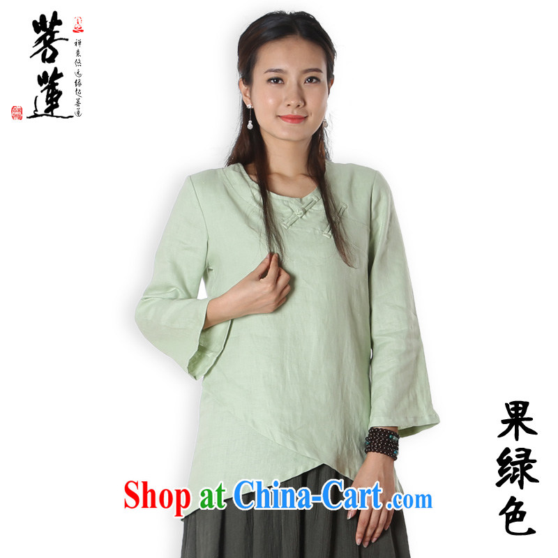 Restrictive Lin cotton the Zen clothing Womens autumn flax Zen painting Nepal Netherlands serving China wind yoga clothing shirt light green XL