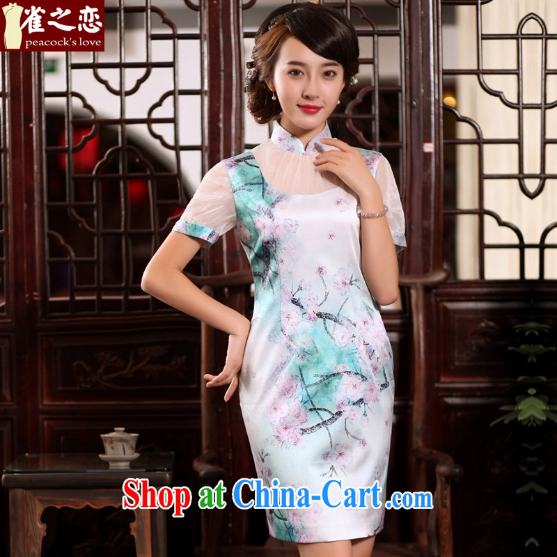 Bird lovers of light color 2015 summer new women with improved stylish stitching Chinese Antique Silk Dresses QD 762 figure XXL