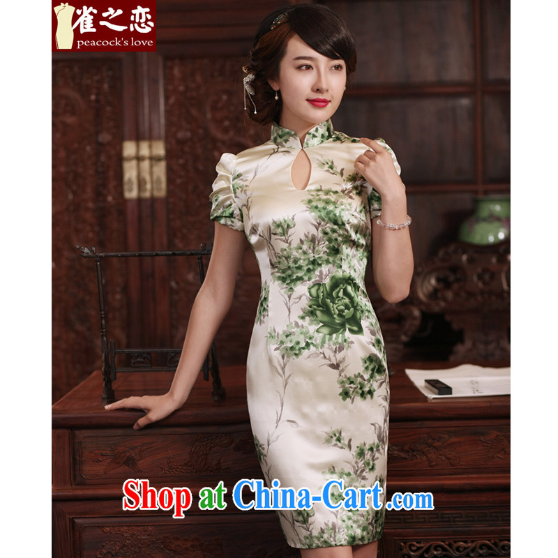 Bird lovers of words, Cheong Wa Dae 2015 new cheongsam dress improved stylish summer short-sleeved daily Silk Cheongsam dress QD 772 as shown XXL