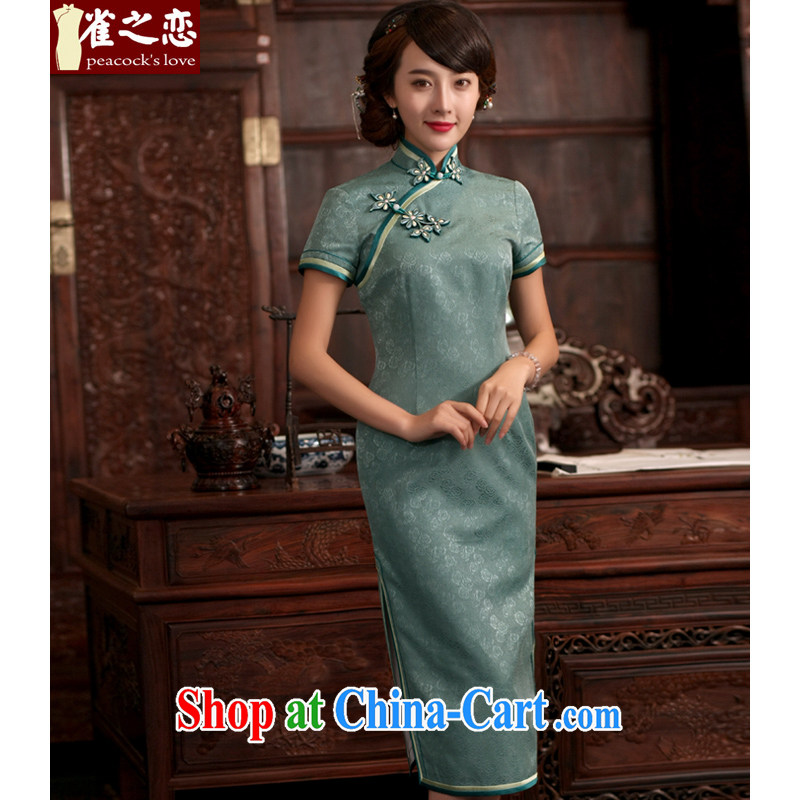 Birds love the pixel if the 2015 new summer dresses stylish and elegant elegant antique long Silk Cheongsam QD 760 figure XXL