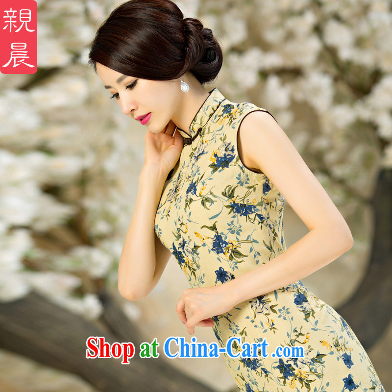 pro-am New 2015 improved fashion cheongsam dress daily retro summer short Ms. cotton, the cheongsam dress short 2 XL