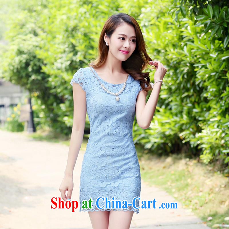 Kam Ming Yin Yue 7 new women small fragrant wind graphics thin Chinese cheongsam dress lace dress short-sleeved summer Korean fashion style beauty package and light blue XXL, Kam-ming 7 Yin Yue, shopping on the Internet