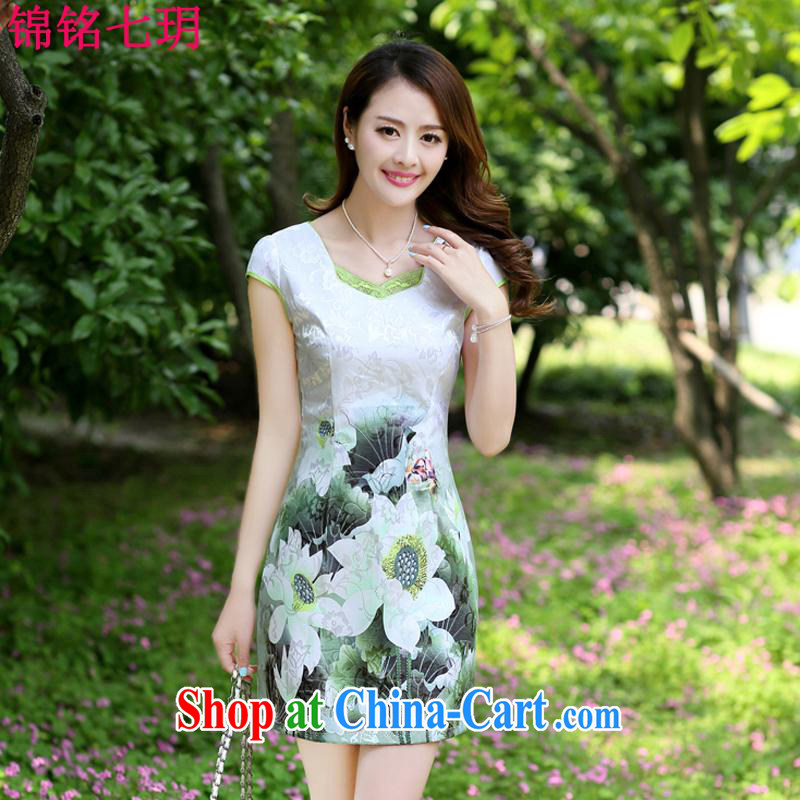Kam-ming Yin Yue 7 2015 new products, floral summer dress short-sleeved beauty charm retro stamp outfit ethnic wind Green S