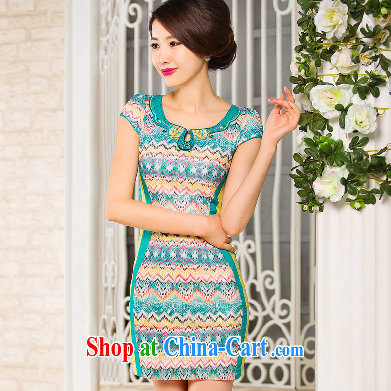 Sir David WILSON, cheongsam dress 2015 new summer fashion improved cultivation streaks the middle-aged, mom with daily dress green XXXL