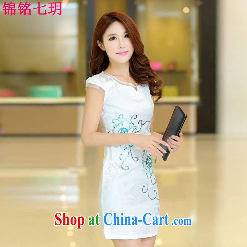 Kam-ming Yin Yue 7 2015 summer dress new OL retro further short skirts beauty package and the hook take Chinese cheongsam dress short-sleeve snow woven dresses female white L