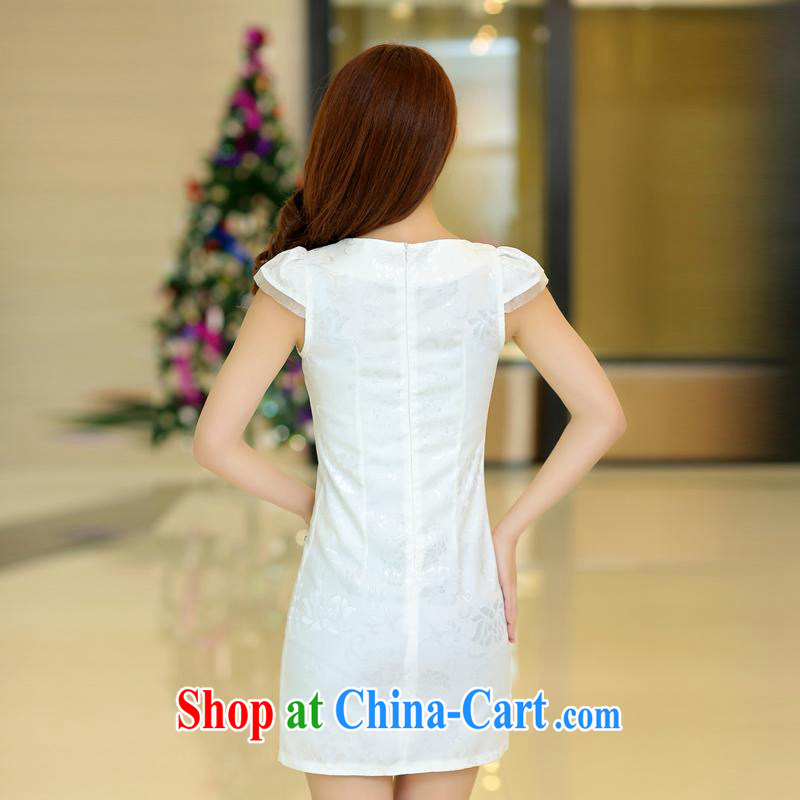 Kam-ming Yin Yue 7 2015 summer dress new OL retro further short skirts beauty package and the hook take Chinese cheongsam dress short-sleeved snow-woven dresses female white L, Kam-ming 7 Yin Yue, shopping on the Internet