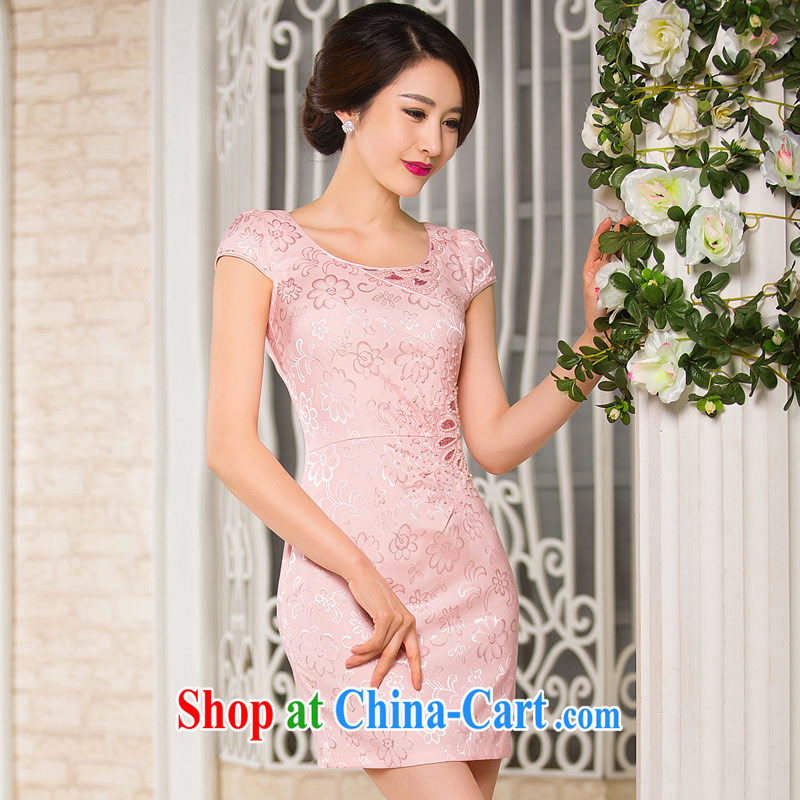 Sir David WILSON, cheongsam dress 2015 summer improved stylish beauty short pink bridesmaid loaded daily Chinese Chinese Dress skirt pink XXXL