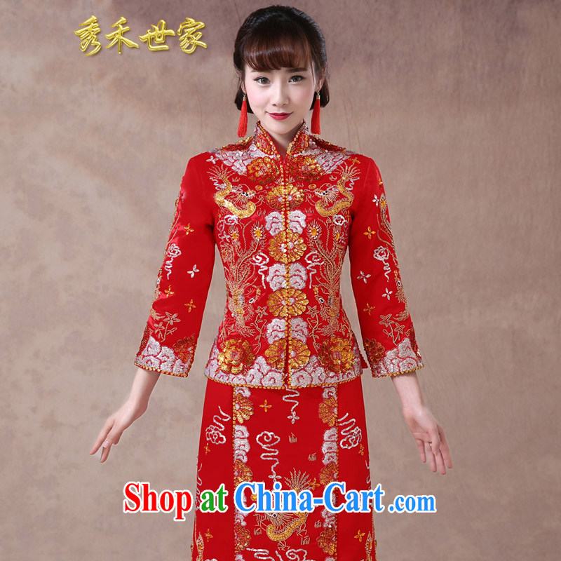 Use Phoenix dress bridal toast clothing wedding dress red Chinese wedding retro married Yi 2015 new dresses summer red L No.