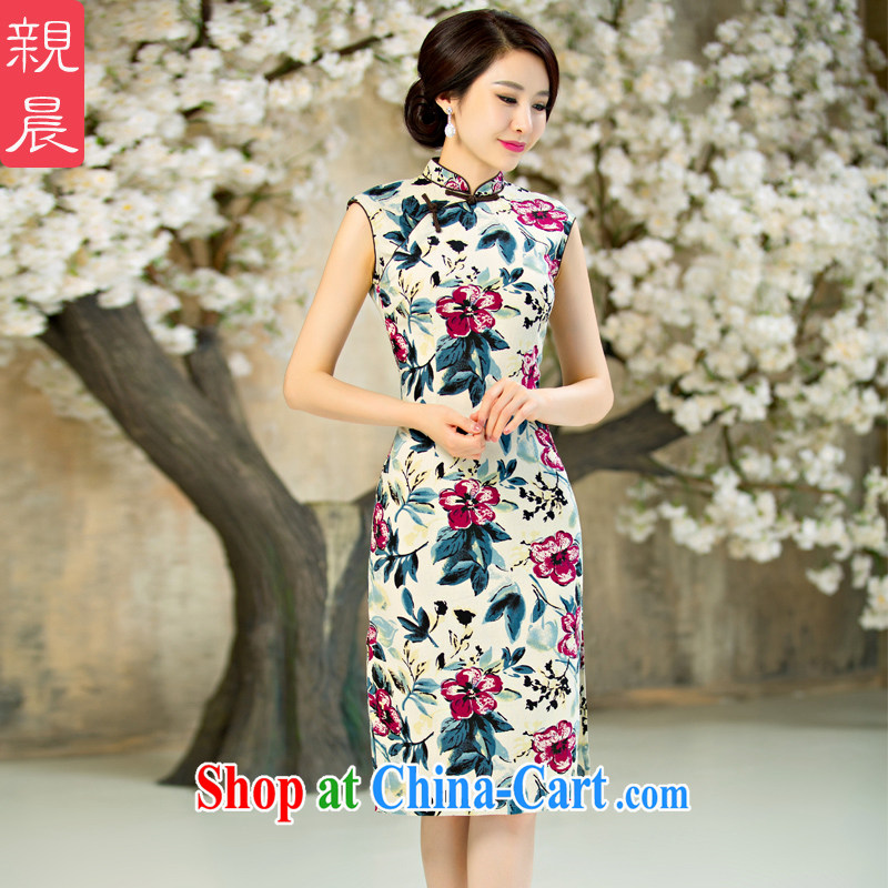 pro-am 2015 new daily, improved fashion cheongsam dress summer retro short, short sleeves cheongsam dress suit 2 XL