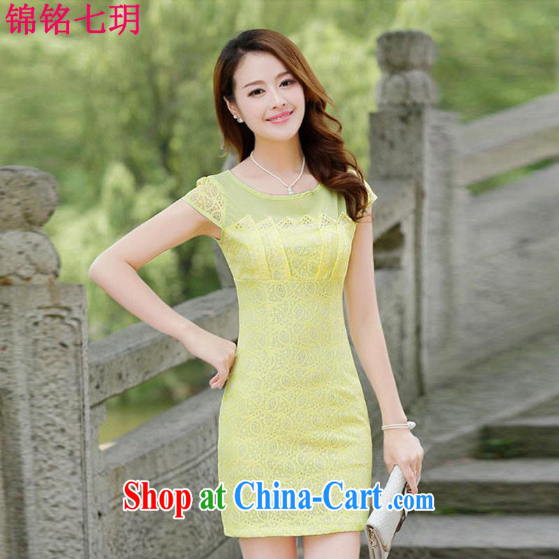 Kam-ming Yin Yue 7 summer new hook spent cultivating graphics thin solid temperament, Chinese cheongsam lace short-sleeved dresses summer yellow L
