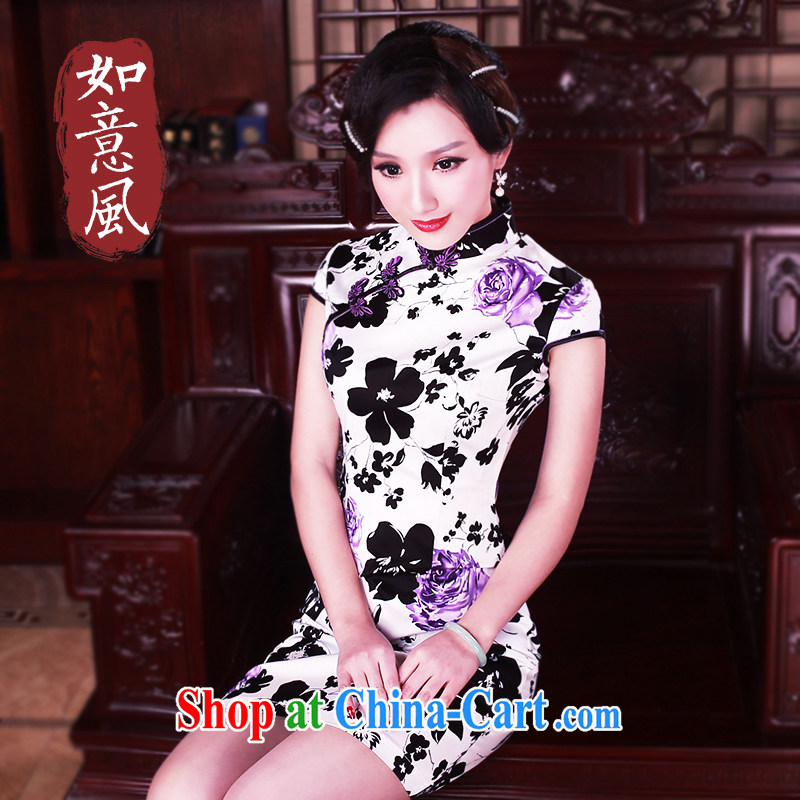 Unwind after the 2015 summer new improved cotton robes small floral retro dresses improved cheongsam women 0045 new 0045 fancy XXL