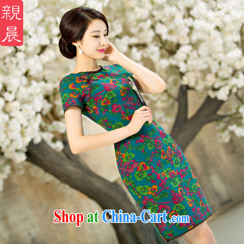 pro-am 2015 new daily improved fashion cheongsam dress, Retro summer short, short-sleeved qipao dresses short 2 XL