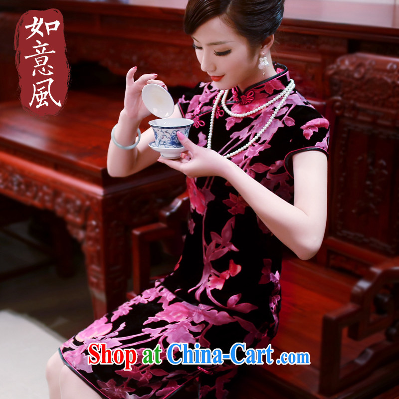 Ruyi style in a new, improved 2015 cheongsam dress high-end wool MOM Women's clothes cheongsam dress 0065 new 0065 fancy XXL
