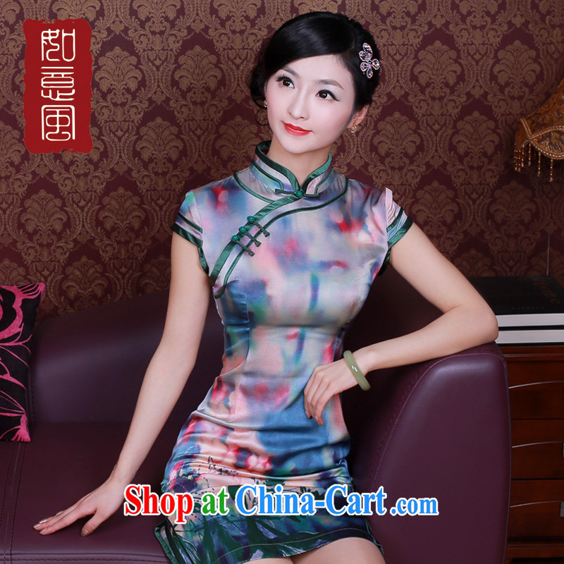 Unwind after the new spring and summer dresses women's sauna silk improved stylish upmarket Silk Cheongsam dress 4021 new 4021 fancy XXL