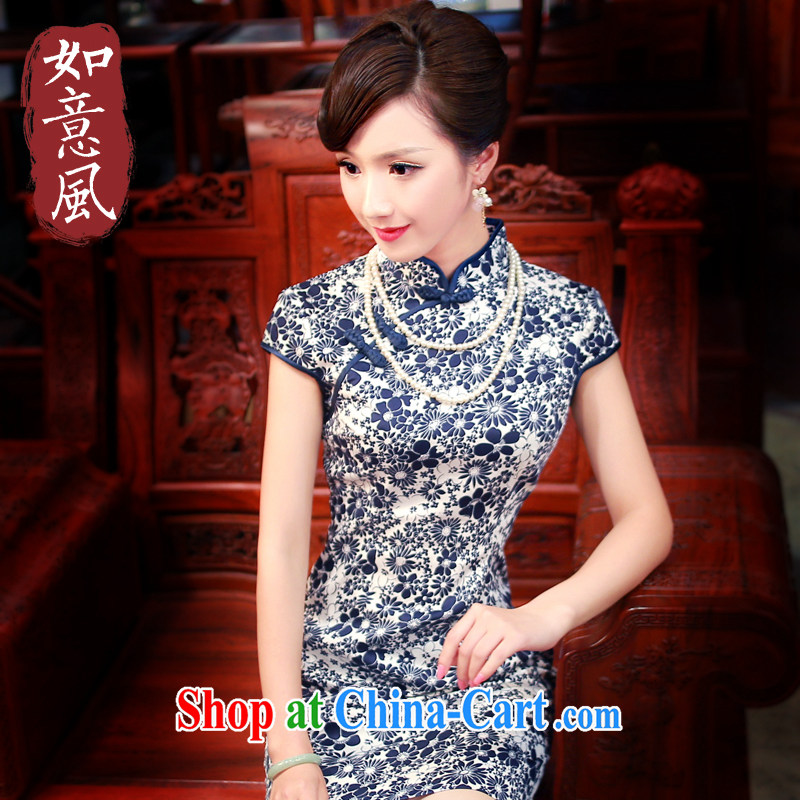 Unwind after the 2014 female new stylish improved cheongsam porcelain was daily cultivating cotton robes 0150 new 0150 fancy XXL
