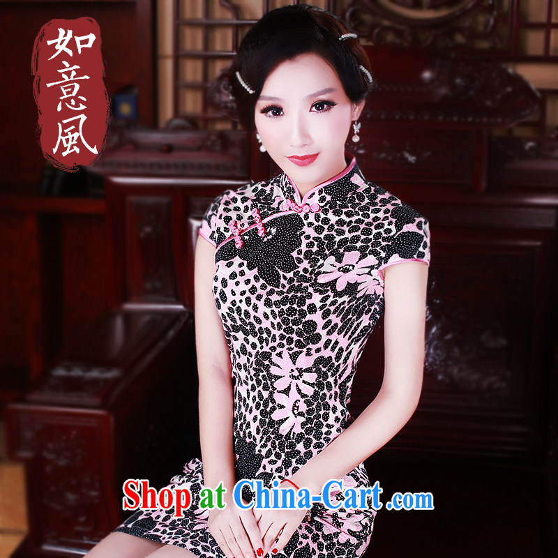 Unwind after the new 2014 summer wear cheongsam dress stylish stamp duty cotton daily retro dresses 0230 new 0230 fancy XL