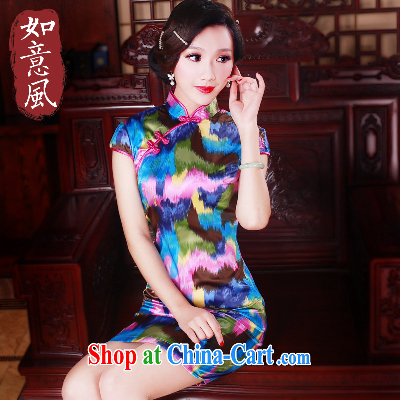 Wind Sporting Goods day 5 color Chinese stamp retro, stylish improved cheongsam dress 2082 new 2082 fancy XL