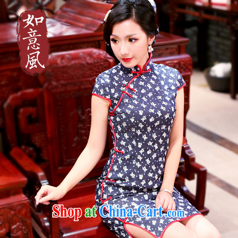 Wind Sporting Goods -- Chinese improved retro dresses quality color red blue jeans fabric Gangnam style 2085 new 2085 blue XXL