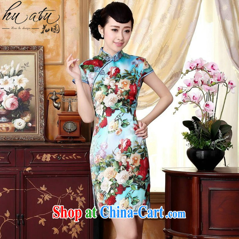 Take the heavy Silk Cheongsam Ms. retro improved, sauna for silk painting stretch Satin beauty double short cheongsam floral 2 XL