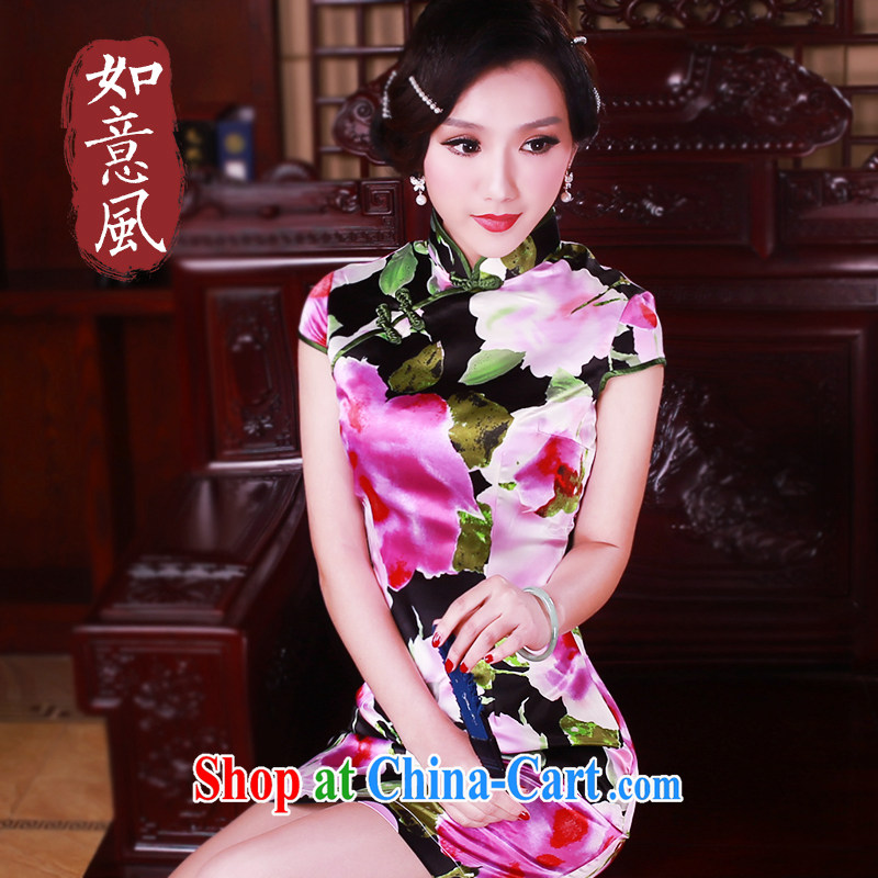 ruyi, 2015 new stylish improved cheongsam summer silk Trim Skirt outfit is hard-pressed for the 2112 new 2112 fancy M