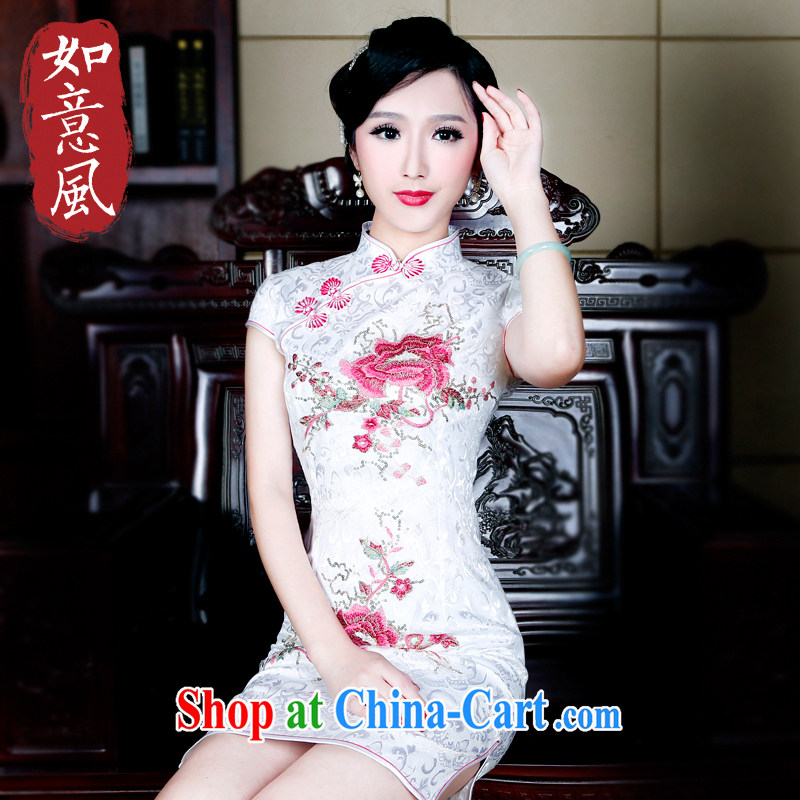 Unwind after the 2015 new spring and summer cotton dresses retro style improved cheongsam embroidery cheongsam dress 3031 new 3031 saffron XXL