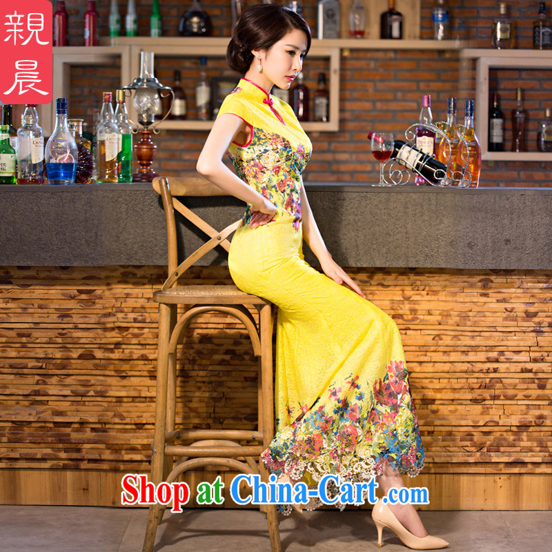 pro-am 2015 new daily cheongsam dress improved stylish summer retro Ms. long crowsfoot cheongsam dress yellow 2XL